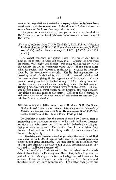 B. Hall - Extract of a Letter from Captain Basil Hall, R.N. F.R.S. to William Hyde Wollaston, M.D. V.P.R.S. Containing Observations of a Comet Seen at Valparaiso