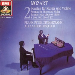 Sonatas for Violin & Piano Vol 2 K 306, 302, 296 & 377 by Wolfgang Amadeus Mozart ;   Frank Peter Zimmermann  &   Alexander Lonquich